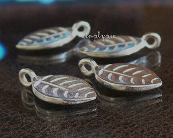 Semi Matte Silver Pewter Leaf Charms 18x10mm - 4