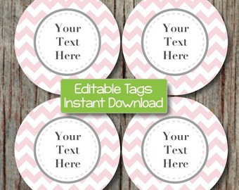 Printable Labels Editable Tags Digital File JPG Powder Pink Grey Chevron Cupcake Toppers Favor Tags Stickers Baby Shower INSTANT DOWNLOAD 06