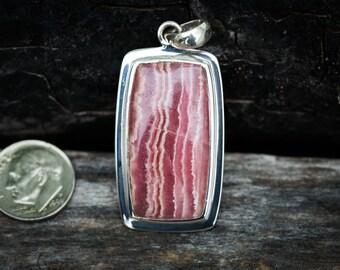 Rhodochrosite Pendant - Rhodochrosite and Sterling Silver Pendant - Rhodochrosite Jewelry - Pink Rhodochrosite Necklace - Rhodochrosite