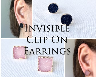 Druzy Studs Invisible Clip On Non Pierced Earrings , #8