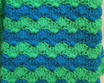 Crochet Baby Blanket-Travel/Stroller/Crib/Car Seat/Blue-Green/Green Border
