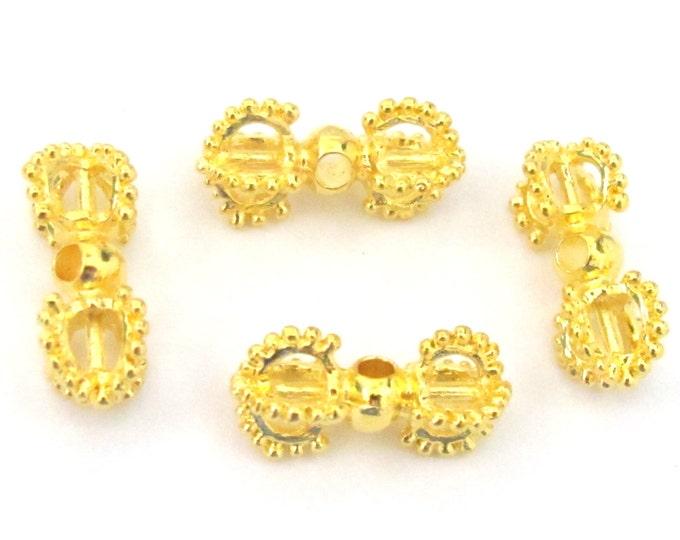 4 BEADS - Beautiful Tibetan gold plated dorje vajra beads mala spacer  - BD581