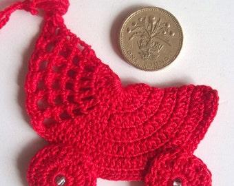 Crochet red pushchair