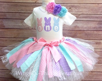 EASTER BIRTHDAY OUTFIT, Fabric Tutu Skirt 3pc Set Bodysuit, Headband, First, One, Two, 1st, Peeps, Pastel, Bunny, Toddler, Baby, Girls