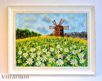 """Fused Glass Wall Art, Glass picture """"Camomile field"""", Provence, Fused Glass Panel, Wall Art, Home Decor"""