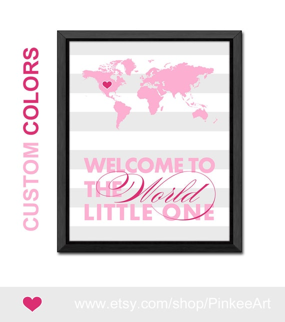 World map newborn baby decor girl welcome to the world baby like this item gumiabroncs Image collections
