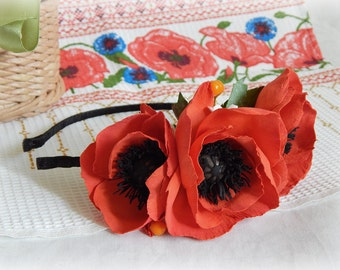 Red poppy flower crown Ukrainian flower headpiece Red flower headband Boho flower crown Ukrainian gift for her Red wedding hair accessory