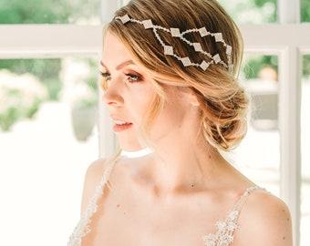 Bridal hairpiece vintage, Wedding headpiece art deco, Gatsby bridal headband, Art deco bridal headpiece, Gatsby bridal hair piece, Swarovski