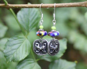 SALE, Pewter Butterfly Charm Earrings, Handmade Rustic Earrings, Boho Style, Gypsy Style Earrings, Lightweight, Dangle Earrings