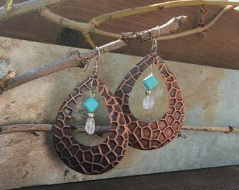 Bronze Earrings//Turquoise