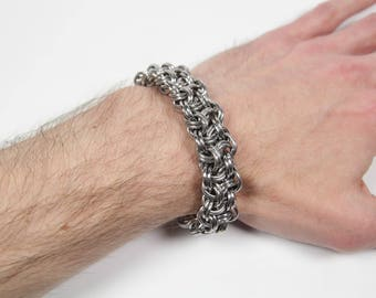 Kinged Vipera Berus Bracelet, Chainmaille Bracelet, Stainless Steel, Chainmail, Basket Weave, Chain Maille, Mens Bracelet, Mens Jewelry