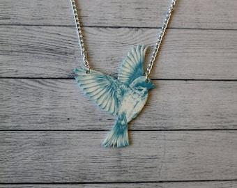 Shrink Plastic Necklace Bird Necklace Blue Bird Necklace Flying Bird Vintage Illustration Necklace Statement Necklace Animal Necklace