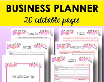Direct Sales Planner, Printable Business Planner, Small Business Expense Tracker Printables, Editable PDF,  Letter Size, Instant Download