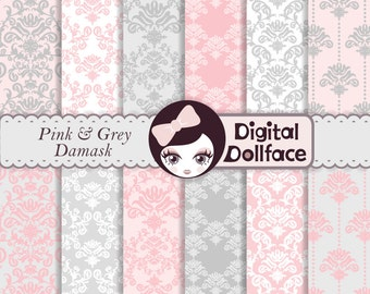 Pink and Grey Damask Digital Paper, Baby Girl Scrapbook Paper Pack