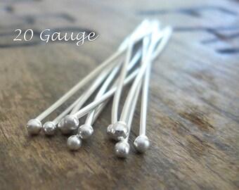 "10 2"" Fine Silver Handmade Ball Headpins - 20 gauge. 2 inches."
