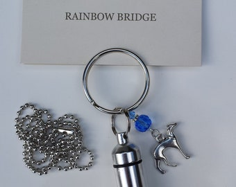 Pet Sympathy, Pet Memorial, Cremation Urn, Keychain/Necklace, Rainbow Bridge Poem, Birthstone
