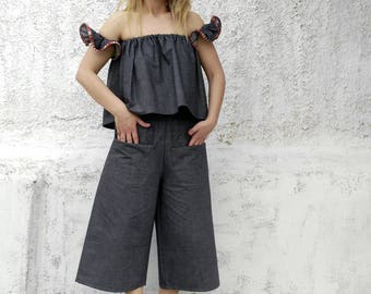 Denim twin summer set-off the shoulder top with cropped pants-cropped pants-off the shoulder top-bardot top-cullotes-summer outfit-stylish