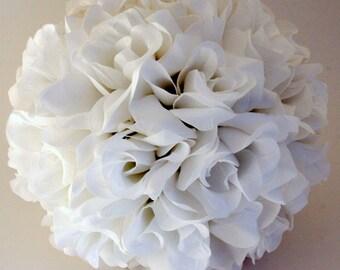 Kissing Pomander Rose Flower Ball Wedding Decoration for Aisle, Centerpiece, Bouquet, Flower Girl - Handmade - White