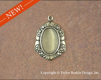 Floral Border Earring Component or Pendant Bezel Stamping in Antiqued Polished Brass 14x10 mm (item 1535 AG) - 6 Pieces