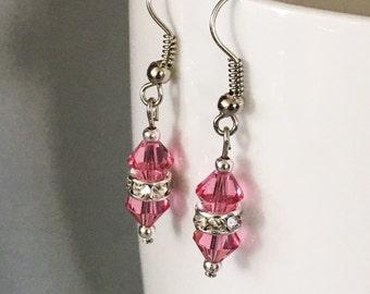 October birthstone earrings, Rose birthstone earrings, Swarovski crystal earrings, pink earrings, beaded earrings, pink dangle earrings