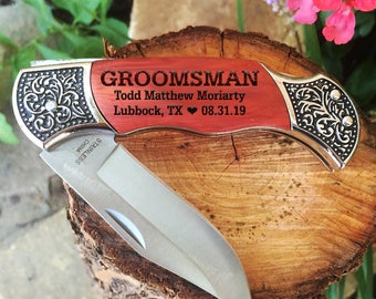 Rosewood Hunting Knife, Double Sided, Custom Engraved, Fathers Day, Camping Knife, Deco Grip, Christmas, Groomsman, Best Man, Keepsake