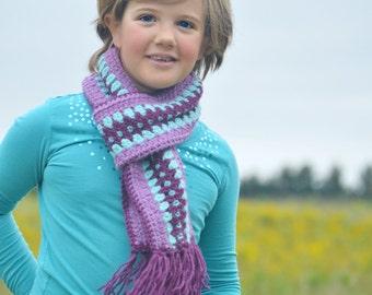 Custom Fair Isle Scarf,   Fair Isle Crochet Striped Scarf,  Kids Winter Scarf,    Made to Order