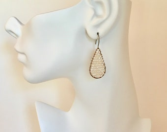 Sterling silver hoop earrings with freshwater pearls