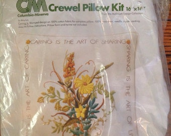 Vintage New in Package Columbia Minerva Crewel Pillow Kit 16 x 16