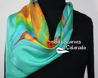 Teal Silk Scarf. Teal, Orange Hand Painted Silk Shawl. Square Silk Scarf SPRING SUN. Birthday Gift. Offered in Several SIZES. Gift-Wrapped