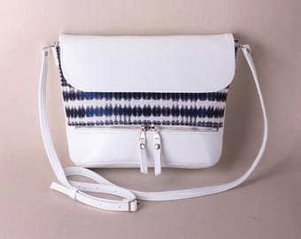 White crossbody bag with blue pattern White purse Small purse  Handbag Gift for her Shoulder bag Crossbody purse purse Sross shoulder bag