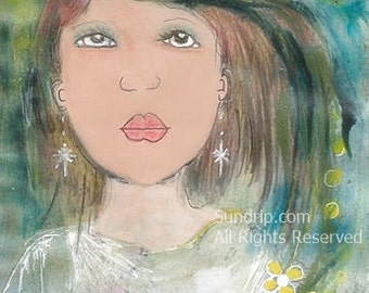 Strawberry Kisses Original painting In tea blackberries and blueberries Sweet girl with bright eyes and star earrings