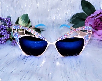 Purple festival sunglasses Burning Man goggles butterfly sunglasses bling sunnies mirror sunglasses embellished shades cat eye sunglasses