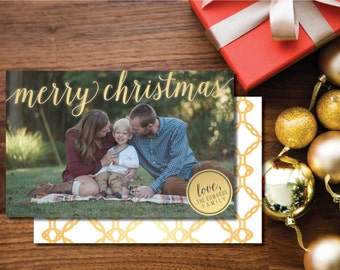 Merry Christmas Printable Christmas Card. Two-sided. Gold and White. Holiday Card. Snowflakes.