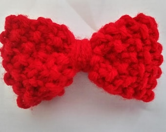 Small Red Hand Knit Bow