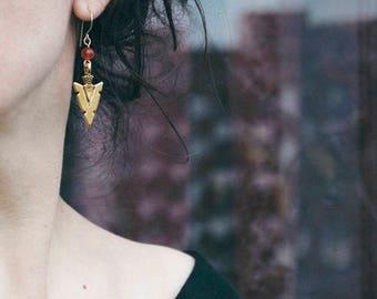 Brass earrings, hammered brass earrings, handmade jewelry, semiprecious stone earrings,