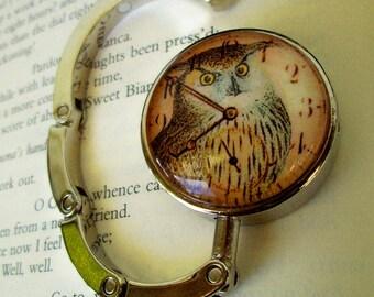 Steampunk Bag/Purse or Hat Hanger (H48) - Vintage Artwork Under Glass - Victorian / Goth Design - Owl Clockface