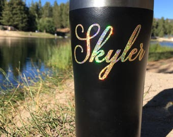 Name Decal, Glitter Name Decal, Vinyl Decal, Custom Name Decal, Glitter Decal, Holographic, Yeti Decal, Wedding Decal, Any Word, READ INFO