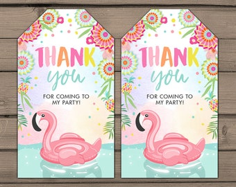 Flamingo Pool party Favor tags Tropical Birthday Thank you tags Pool float Flamingo gift tags Pink Girl Baby shower Digital PRINTABLE