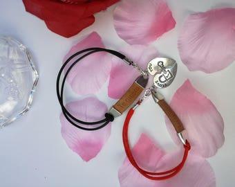 Valentine bracelets, Love bracelets, heart match bracelets to complement
