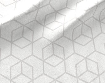 Hexagon Fabric - Trellis Pale Grey On White By Little Fish Geometric Abstract Decor Gray Organic- Cotton Fabric By The Yard With Spoonflower