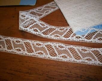 Antique lace french origin 1910 pure cotton   vintage supplies