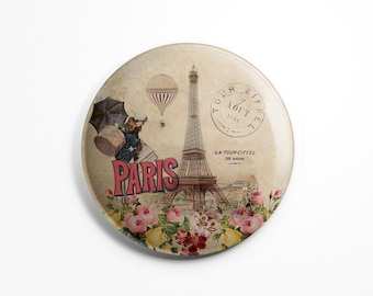 Button Magnet Paris Vintage - Paris Souvenir Eiffel Tower Old Postcard Fridge Round Magnet 56mm diameter Kitchen Decoration