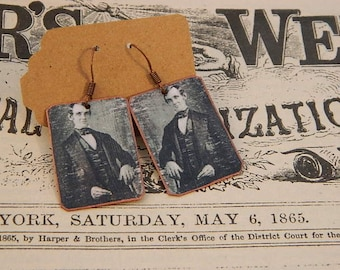Abe Lincoln earrings mixed media jewelry civil war jewelry
