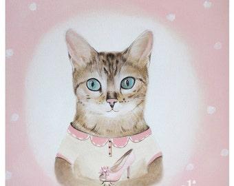 Acrylic cat, Baby Girl Nursery, Baby Shower Gift, Nursery Print, Cat Nursery Art, Cat Print, Playroom Art, Pink Little princes Nursery Decor