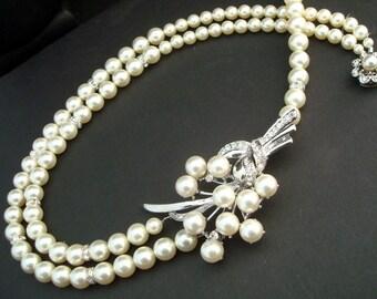 bridal pearl necklace, pearl necklace, Wedding Rhinestone necklace, swarovski crystal and pearl necklace, Statement bridal necklace, KELSEY