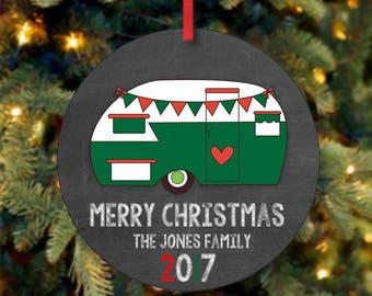 Festive Camper Christmas Ornament, RV Ornament, Family Christmas Ornament, Custom Ornament, 2017 Ornament, RV Christmas, Tiny House (0020)