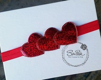 Glitzy- Valentines Day Headband, valentines day bow, heart headband, red heart headband, red glitter headband, heart hair bow, BowPosh