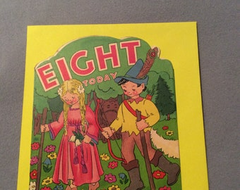 Vintage Age 9 original 1950's Birthday card with Robin Hood and Maid Marian Design