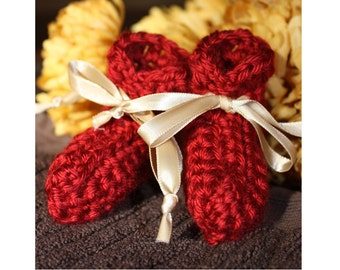Red Fall Preemie Baby Booties - Crocheted Baby Booties - Baby Gift