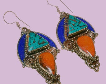 Turquoise, Lapis Lazuli and Red Coral Queen Design Hand-Crafted Nepalese Sterling Silver, Dangle Earrings